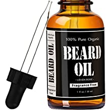 Beard Oil and Leave In Conditioner- Fragrance Free by Leven Rose 100% Pure Natural Organic for Groomed Beards, Mustaches, and Moisturized Skin - 1 oz