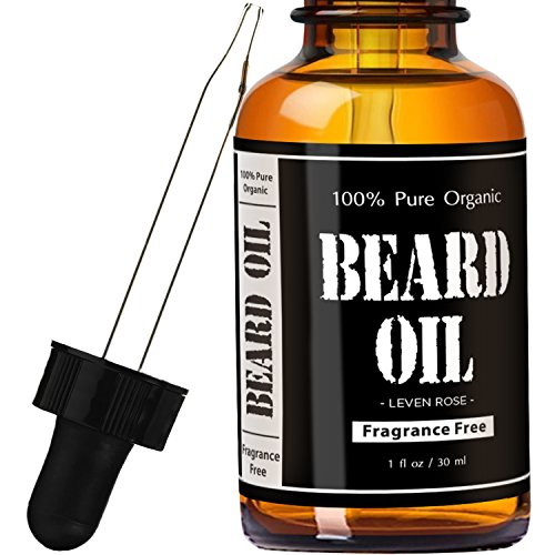 Beard Oil & Leave In Conditioner – Fragrance Free by Leven Rose | Pure Natural Organic for Groomed Beards, Mustaches, and Moisturized Skin – 1 oz