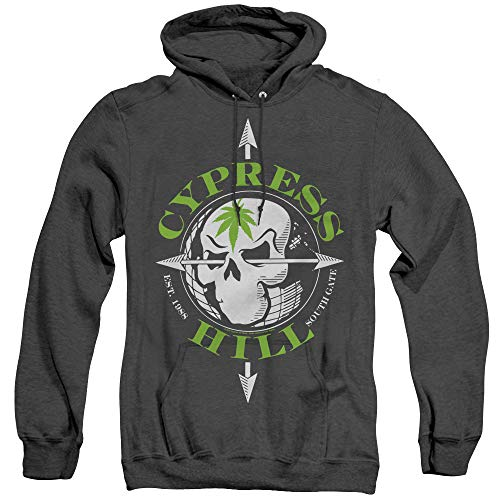 (Trevco Cypress Hill Unisex Adult Pull-Over Heather Hoodie, Large Black )