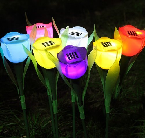 oor Yard Garden Path Way Solar Power LED Tulip Landscape Flower Lamp Lights ()