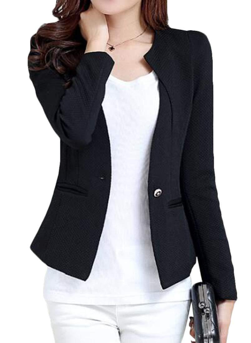 Domple Women's Blazer Jacket Sparkle Sequin Button Long Sleeve Patchwork Suit Top Coat Black US L by Domple (Image #1)