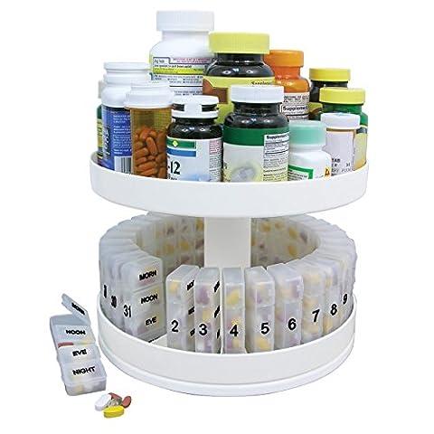 Pill Holder Carousel Medicine Bottle Daily Organizer Center Rotating Cabinet Box - Door Recessed Honey Oak Cabinets