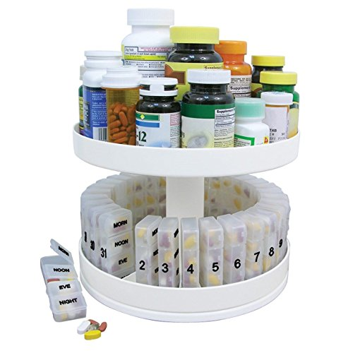Pill Holder Carousel Medicine Bottle Daily Organizer Center Rotating Cabinet Box (Bottle Of Pills Costume)