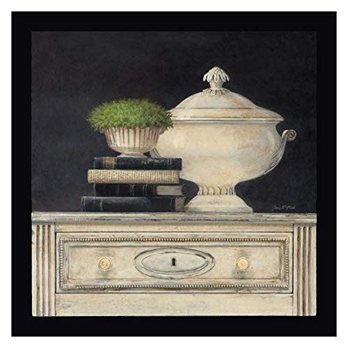 """Cream Tureen by Arnie Fisk - 23"""" x 23"""" Black Framed Giclee Canvas Art Print - Ready to Hang"""