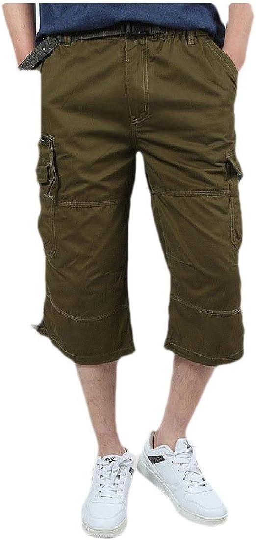 YAXINHE メンズルースフィットマルチポケットハイウエスト薄いソリッドジッパーカーゴショートパンツ