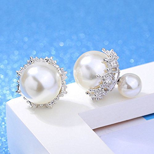 Phetmanee Shop Women 925 Sterling Silver Lace Zircon Crystal Freshwater Pearl Ear Stud Earrings
