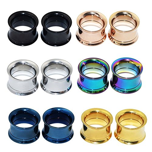 Longbeauty 6 Pair Stainless Steel Screw Ear Gauges Flesh Tunnels Plugs Expander 6 Colors At the same Size