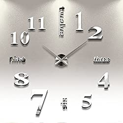iCasso Luxury Large Size 3D Mirror Surface Creative Modern Home Decoration Art Clock DIY Wall Clock Watches Hours Wall Sticker #6 (Silver)