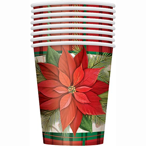9oz Poinsettia Plaid Holiday Party Cups, 8ct]()