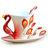 vanki 1 pc Collectable Fine Arts China Porcelain Tea Cup and Saucer Coffee Cup Peacock Theme Romantic Creative Present,Red