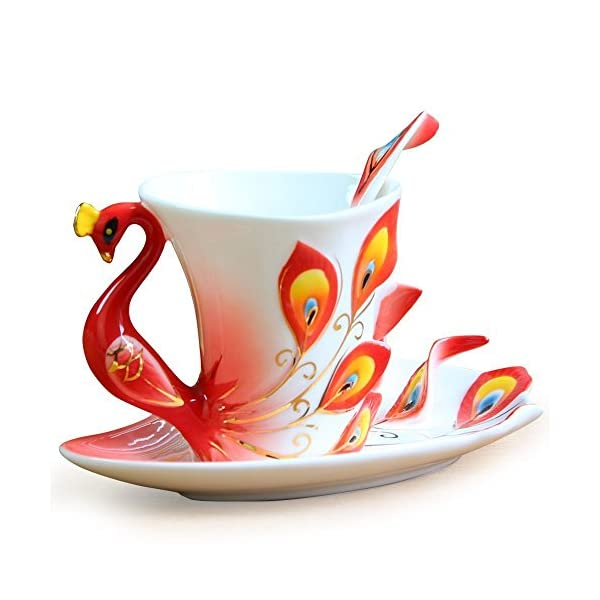 Vanki Collectable Fine Arts China Porcelain Tea Cup and Saucer Coffee Cup Peacock...