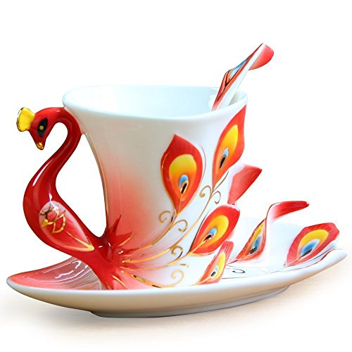 Vanki Collectable Fine Arts China Porcelain Tea Cup and Saucer Coffee Cup Peacock Theme Romantic Creative Present (Red)