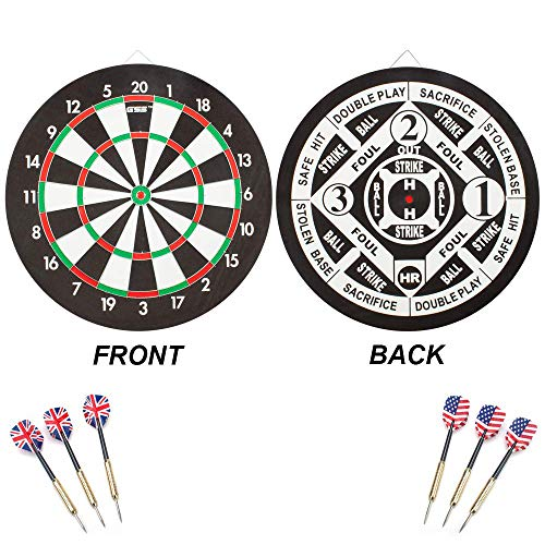 GSE Games & Sports Expert Regulation Size 2-in-1 Paper Baseball/Dartboard Set with 6 Steel Tip Darts