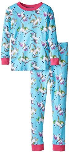 New Jammies Big Girls' Organic Cotton Snuggly Pajamas, Rainbow Unicorns, -