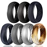 Egnaro Silicone Wedding Ring for Men, Particularly Breathable Mens' Rubber Wedding Bands, Size