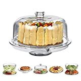 6-in-1 Acrylic Cake Stand, HBlife Multifunctional Serving Platter and Cake Plate With Dome (6-in-1 Cake Dome)