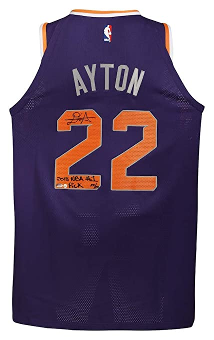 b8b2557ad7c3 DEANDRE AYTON Autographed and Inscribed quot 2018 NBA  1 Pick quot   Authentic Purple Nike Phoenix