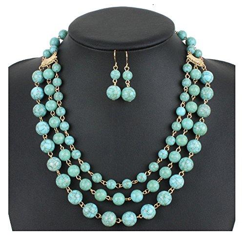 (Shineland Elegant Multilayer Strands Crack Turquoise Stone-simulated Pearl Beads Necklace Earrings Set (Style # 4))
