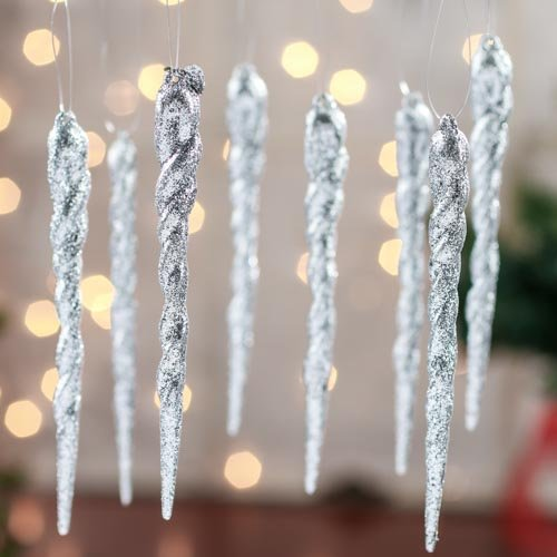 Collection of 32 Christmas Holiday Glitter Icicle Ornaments (Silver Glitter)