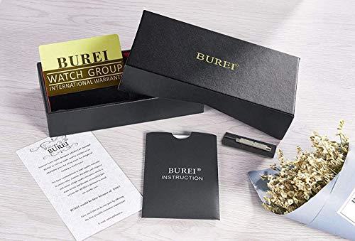 BUREI Men's Multifunction Chronograph Black Stainless Steel Watch with Calendar