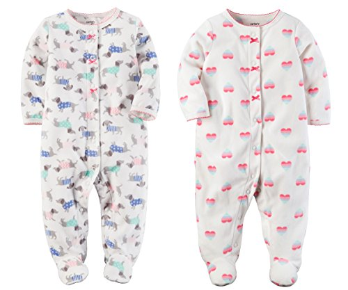 Carters Baby Toddler Girls 2 Pack Fleece Footed Pajama Sleep and Play Set (6 Months, Snap Closure - White Dogs and White Hearts) ()