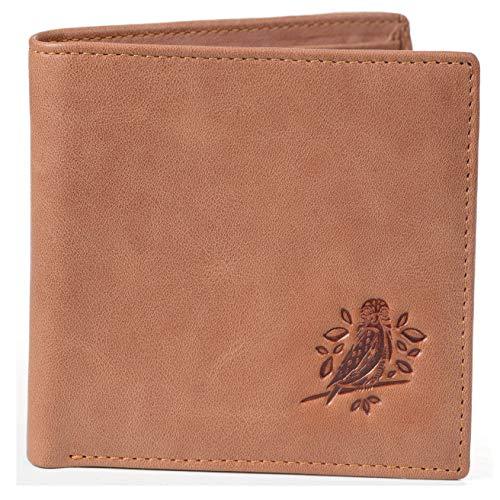 RFID Wallets for Men - Bifold Leather rustic design (Light brown)