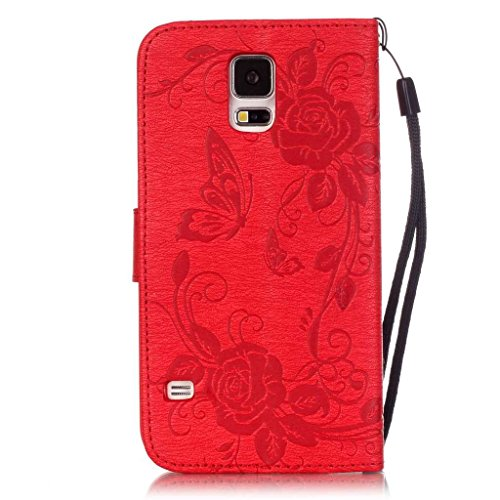 Samsung Galaxy S5 Case, UNEXTATI Wallet Case for Samsung Galaxy S5, PU Leather Case with Wrist strap, Card-Slot, Kickstand, Magnet Clip, Diamond (#1 Red)