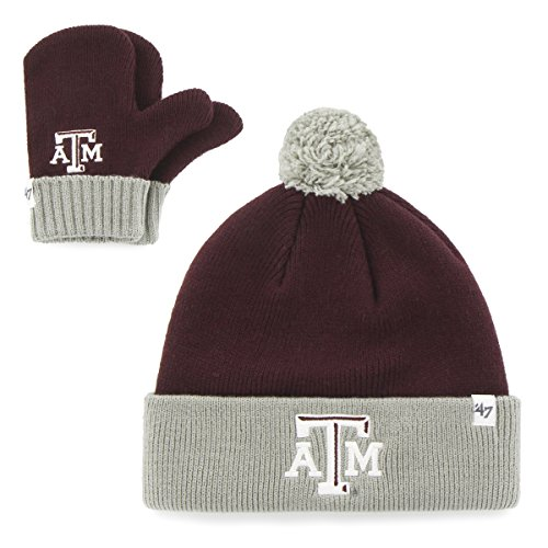'47 Infant NCAA Texas A&M Aggies Embroidered Pom Knit Hat and Mitten Set ()