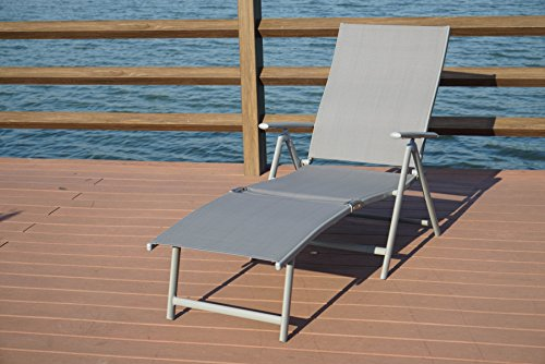 Kozyard Cozy Aluminum Beach Yard Pool Folding Reclining Adjustable Chaise Lounge Chair (Gray) (Aluminum Outdoor Chaise Lounge)