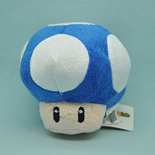Super Mario Bros Toad Mushroom Deep Blue with Keychain 4 Inch Toddler Stuffed Plush Kids Toys