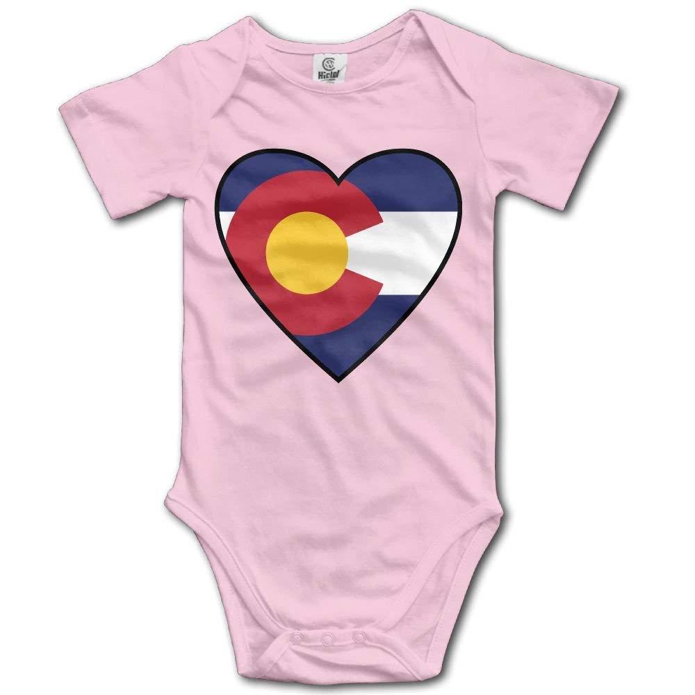 kdipae Flag of Colorado with Heart Retro Newborn Baby Short Sleeve Romper Infant Summer Clothing