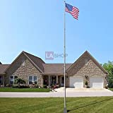 5-section 25 ft. Aluminum Telescoping Flag Pole with US Flag Kit Golden Ball Finial + Tire Mount Wheel Stand America USA Flag for National Holiday Outdoor Decor