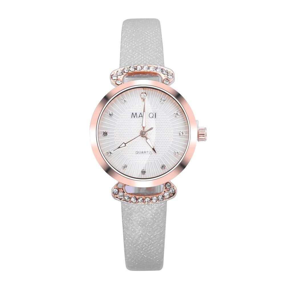 WoCoo Women's Quartz Watch,Fashion Embossed Glass Temperament Leather Belt Crystal Bezel Wrist Lady Watches(White,Free Size)