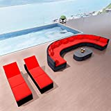 Outdoor Rattan Wicker Garden Sofa Set with Sun Loungers Poly Rattan, Red
