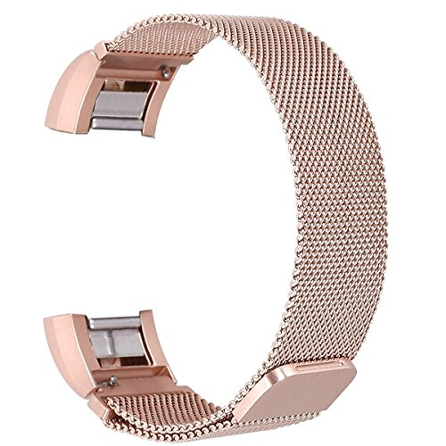 Kangchengrkd For Fitbit Charge 2 Bands, Milan Ring Stainless Steel Metal Smart Watch with Magnetic Closure Buckle, Suitable for Fitness Travel Tracking large(6.7-8.1)Rose gold