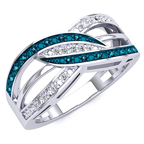- Dazzlingrock Collection 0.20 Carat (ctw) Sterling Silver Blue And White Diamond Ladies Swirl Right Hand Ring 1/5 CT, Size 8