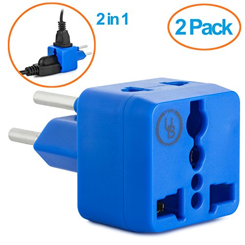 Yubi Power 2 in 1 Universal Travel Adapter with 2 Universal Outlets - Blue - Type H for Gaza Strip, Israel & Palestine - 2 Pack
