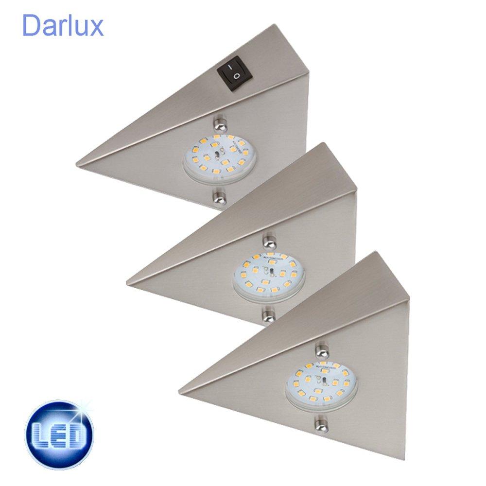 LED Einbauleuchte, 3 x 5 W 400 lm, matt-nickel Unterbauleuchte Edelstahl