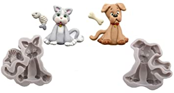 Colybecation Cat Dog Shape Silicone Mold for Polymer Clay