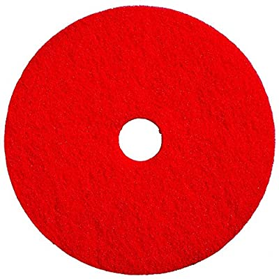 "Bear-Tex 66261054273 Floor Maintenance Buffing Pad, 14"" Diameter x 1"" Thick, 3-1/4"" Arbor, Red (Case of 5)"