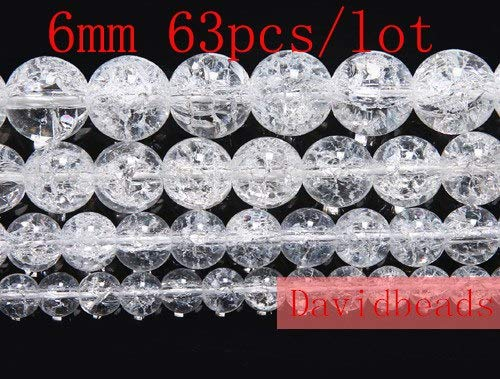 Calvas Factory Price Natural White Snow Cracked Crystal Stone Beads 16