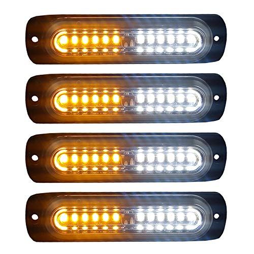 4pcs Ultra Slim 12-LED Surface Mount Grille Flashing Strobe Lights for Truck Car Vehicle Mini LED Light-Head Emergency Beacon Hazard Warning lights 12-24V (Amber/White)