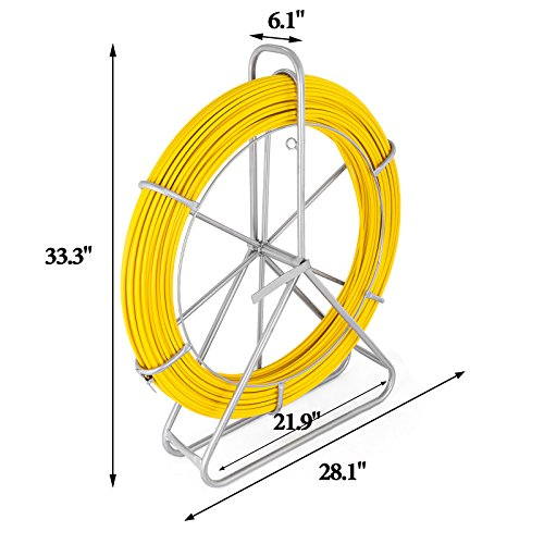 VEVOR Fish Tape Fiberglass 8MM 492FT Duct Rodder Fish Tape Continuous Fiberglass Tape Wire Cable Running with Cage and Wheel Stand by VEVOR (Image #1)