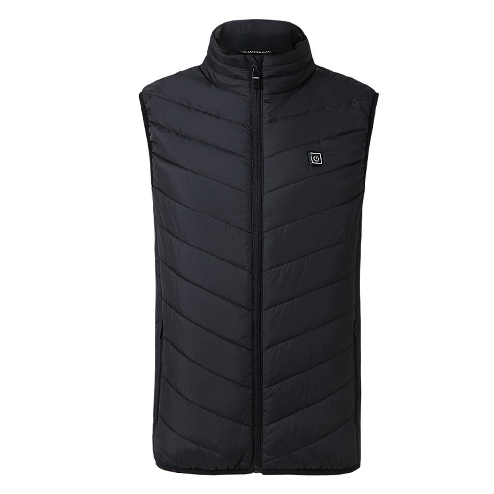 Men Vest Washable Electric Heated Vest Keep Warm Jacket Body Warmer Feather Cotton Adjustable Charging Heated Clothing by Power for Men - Size S (Black)