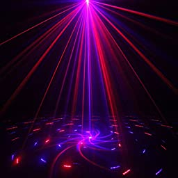SUNY Decor Laser Light Remtoe Controller Holiday Event Blue Red 20 Gobo Projector Pattern Mixing Effect Blue LED Xmas Professional for DJ Home Show Party Z20RB