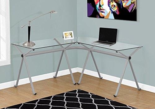 SILVER METAL COMPUTER DESK WITH TEMPERED GLASS Furnituremaxx