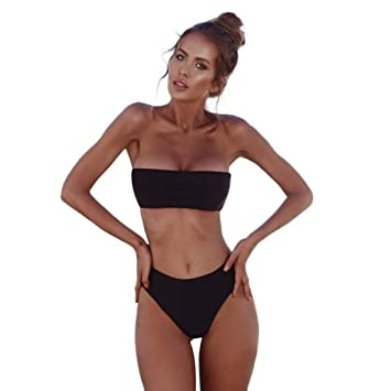 ecd9c639a7 Bathing Suits for Women Two Piece Solid Color Bikini Swimsuit Off Shoulder  High Waisted Push Up