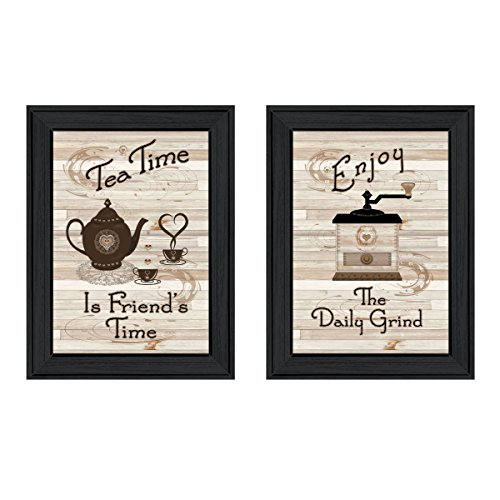 Trendy Decor4U Enjoy Tea Time 2-Piece Vignette by Millwork Engineering, Black Frame Prints, Earthtone