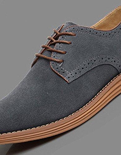 SODIAL(R)NEU Veloursleder Europaeische Stil Leder Schuhe Herren Oxfords laessig grau 8.5 - 999