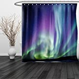 HAIXIA Shower Curtain Northern Lights Exquisite Atmosphere Solar Starry Sky Calming Night Image Queen Full Mint Green Dark Blue Violet